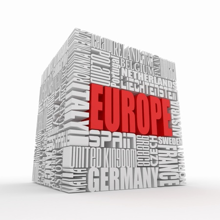Europe. Box from name of european countries. 3d photo