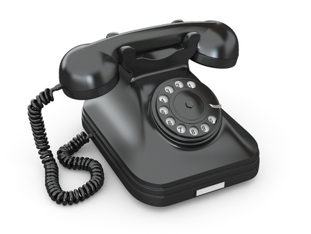 cable telefono: Anticuado tel�fono sobre fondo blanco aislado. 3D