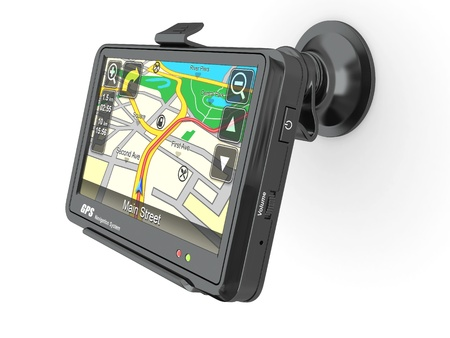 gps navigation: Navigation system. Gps on white isolated background. 3d Stock Photo