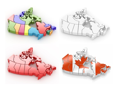 Three-dimensional map of Canada on white isolated background. 3d photo