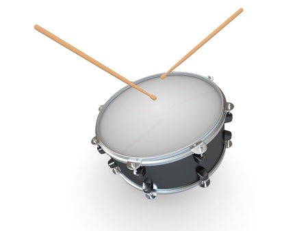 plywood: Drum and drumsticks on white isolated background. 3d