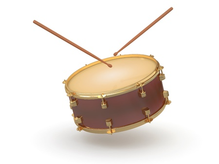 snare: Drum and drumsticks on white isolated background. 3d