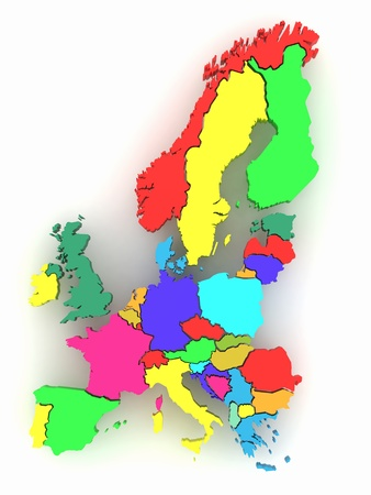 western europe: Three-dimensional map of Europe on white isolated background. 3d Stock Photo