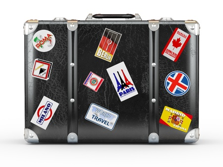 voyage: Black leather suitcase with travel stickers. 3d