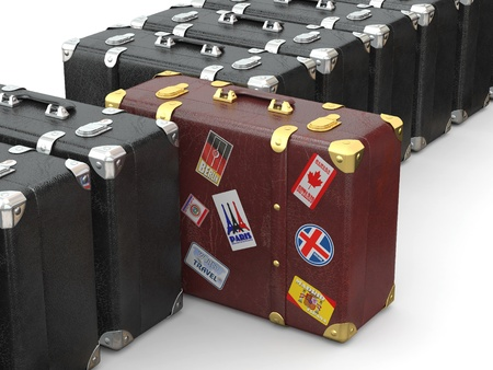 Choose travel. Many suitcases on white isolated background. 3d photo