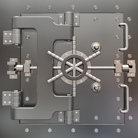 locked: Safe in stainless steel. Bank Vault. 3d