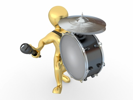 snare: Man with drum and drumstick on white isolated background. 3d