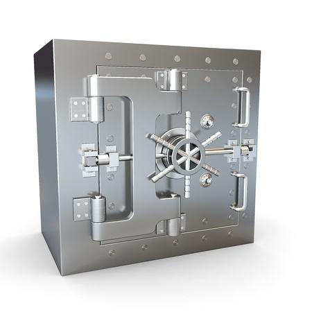 caja fuerte: Caja de seguridad en acero inoxidable. B�veda de banco. 3D