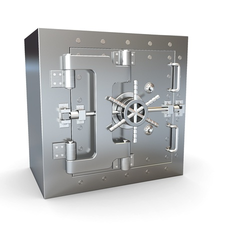 combination lock: Safe in stainless steel. Bank Vault. 3d