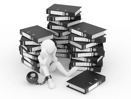 burocracia: Clerk in archive. Men with folders. 3d Banco de Imagens