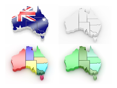 Three-dimensional map of Australia on white isolated background. 3d photo