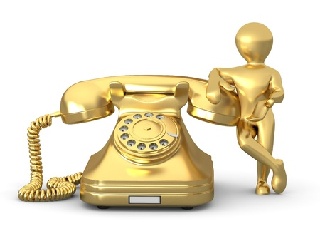phone us: Contact us. Man with phone on white isolated background. 3d