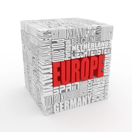 Europe. Box from name of european countries. 3d Stock Photo - 10407370
