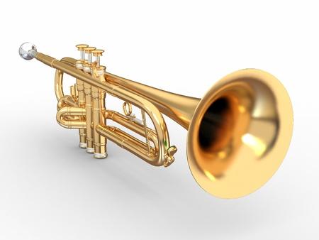Goldene Trompete auf weißem Hintergrund. 3d
