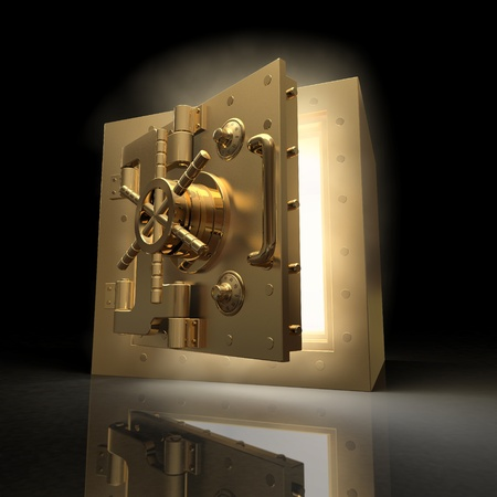 unlock: Opening vault and volume light on black background. 3d Stock Photo