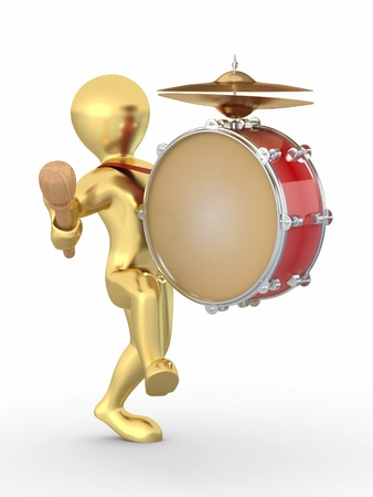 Man with drum and drumstick on white isolated background. 3d photo