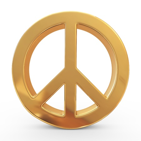 sign simplicity: Peace sign on white isolated background. 3d