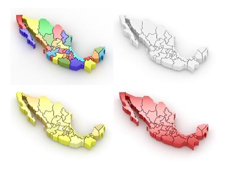 extruded: Mappa tridimensionale del Messico su sfondo bianco isolato. 3D Archivio Fotografico