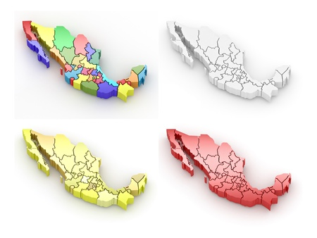 mexico map: Three-dimensional map of Mexico on white isolated background. 3d Stock Photo