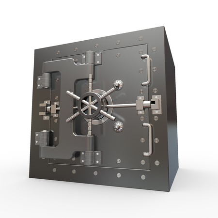stainless steel: Safe in stainless steel. Bank Vault. 3d