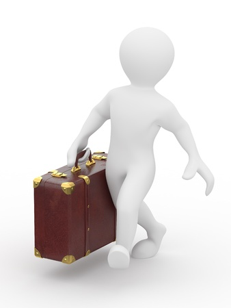 Men with leather suitcase in hand. 3d Stock Photo - 10454500
