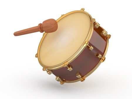 plywood: Drum and drumstick on white isolated background. 3d