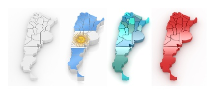Three-dimensional map of Argentina on white isolated background. 3d photo