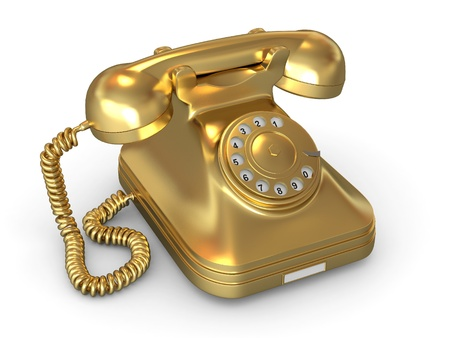 Golden phone on white isolated background. 3d photo