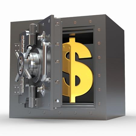 달러: 흰색 격리 된 배경에 보관소에 달러 기호. 3D