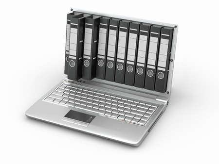 Archive. Laptop with folders instead of the screen. 3d Stock Photo - 10454486
