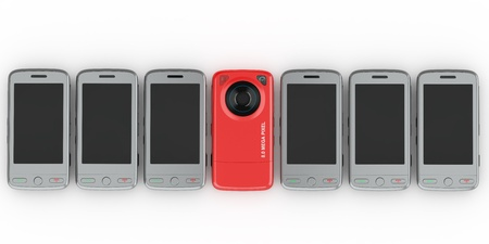 Mobile phones on white isolated background. 3d photo