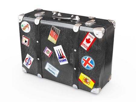 trip travel: Black leather suitcase with travel stickers. 3d