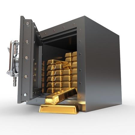 Stack of golden ingots in bank vault. 3d photo