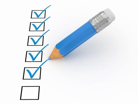 questionaire: L�piz y cuestionario sobre fondo blanco aislado. 3D Foto de archivo