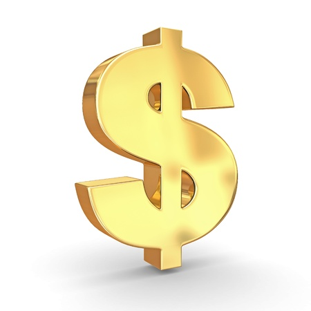 dollar sign icon: Sign of dollar on white isolated background. 3d
