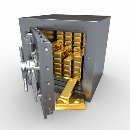 vaulted door: Stack of golden ingots in bank vault. 3d