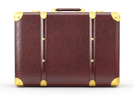 luggage bag: Leather suitcase on white isolated background. 3d Stock Photo