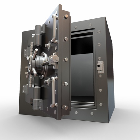 Safe in stainless steel. Bank Vault. 3d photo