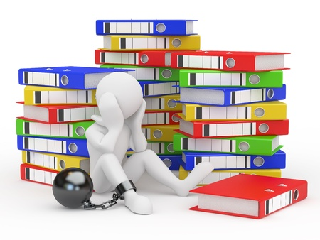 overworked: Clerk in archive. Men with folders. 3d Stock Photo