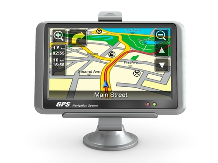 gps device: Navigation system. Gps on white isolated background. 3d Stock Photo