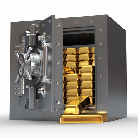 Stack of golden ingots in bank vault. 3d photo