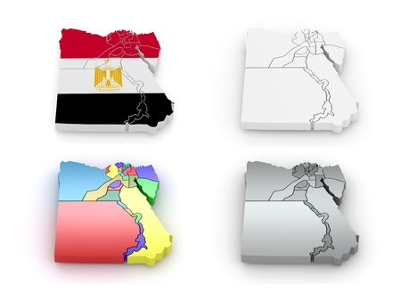 Map Of Egypt In Egyptian Flag Colors D Stock Photo Picture And - Map of egypt 3d