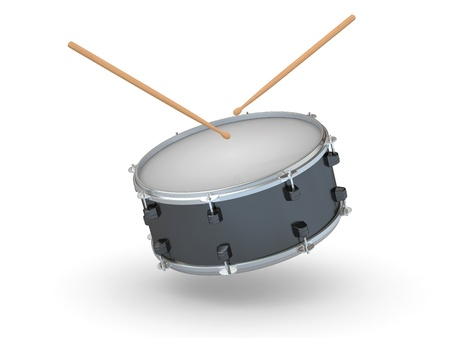 Drum and drumsticks on white isolated background. 3d Stock Photo - 10593879