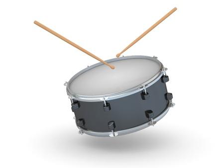 tambor: Tambor y baquetas sobre fondo blanco aislado. 3D