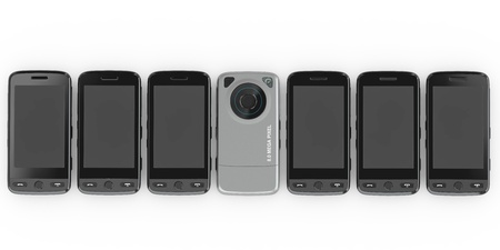 tactile: Mobile phones on white isolated background. 3d Stock Photo