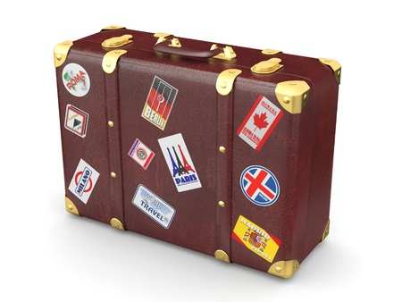 luggage bag: Brown leather suitcase with travel stickers. 3d
