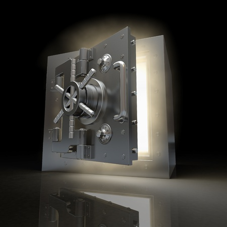 Opening vault and volume light on black background. 3d Stock Photo