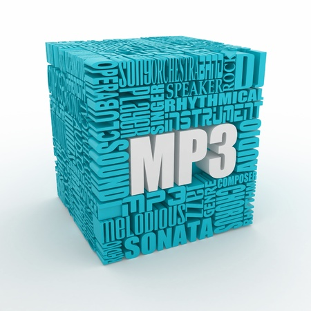 melodious: MP3. The concept of the words on white isolated background. 3d