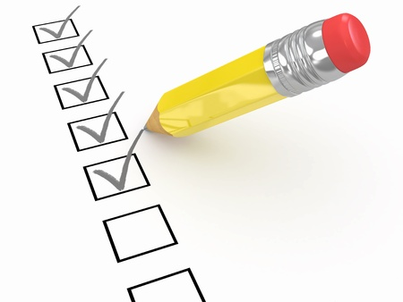 Pencil and questionnaire on white isolated background. 3d photo