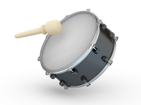 Drum and drumstick on white isolated background. 3d photo
